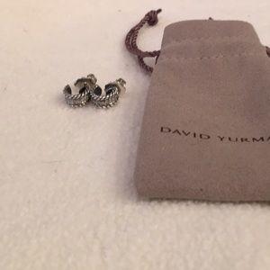 David Yurman Pave diamond hoop earrings